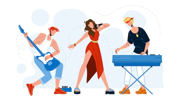 Music band artists performing song Premium Vector