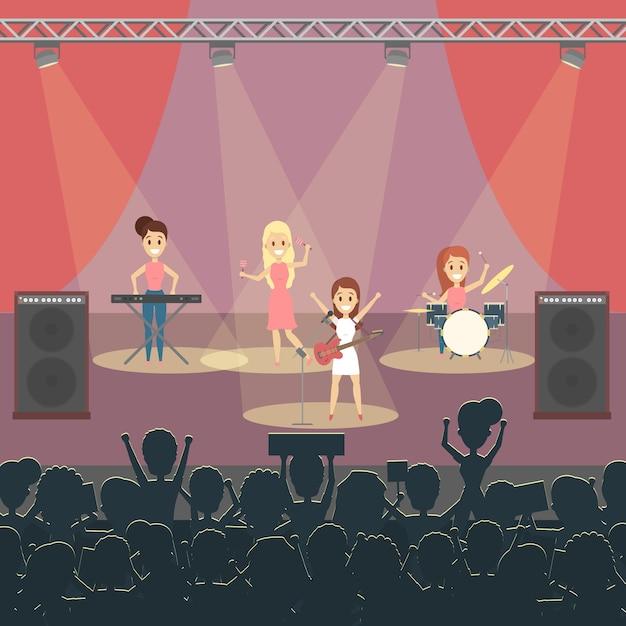 Музыкальная группа на концерте на сцене с поп-музыкой. Premium векторы