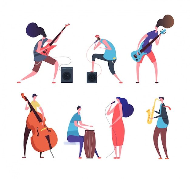 Music band. cartoon musicians, punk guys with musical instruments playing rock music on stage set isolated Premium Vector