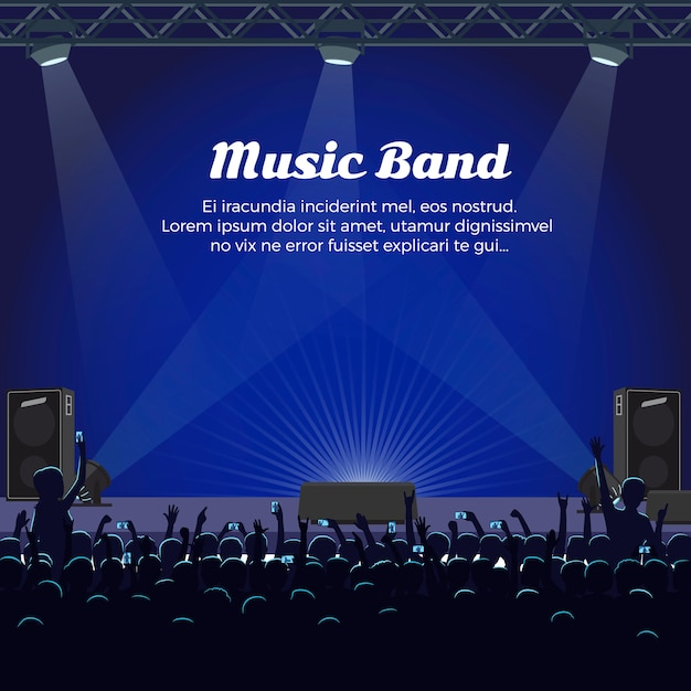 Music band concert at big stage with spotlights Premium Vector