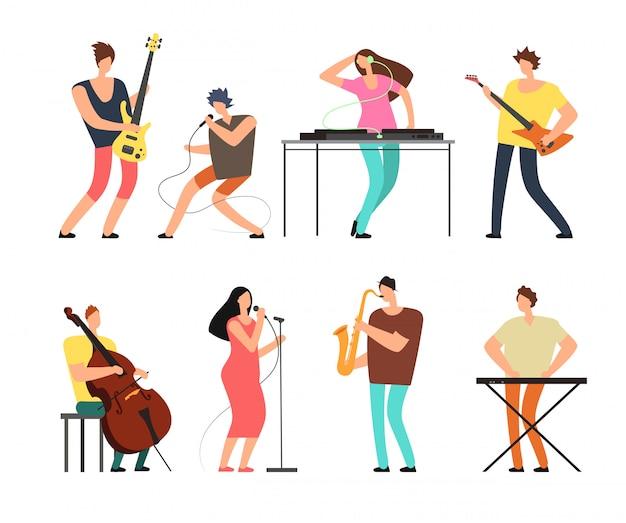 分離されたステージベクトルセットで音楽を演奏する楽器と音楽バンドのミュージシャン Premiumベクター