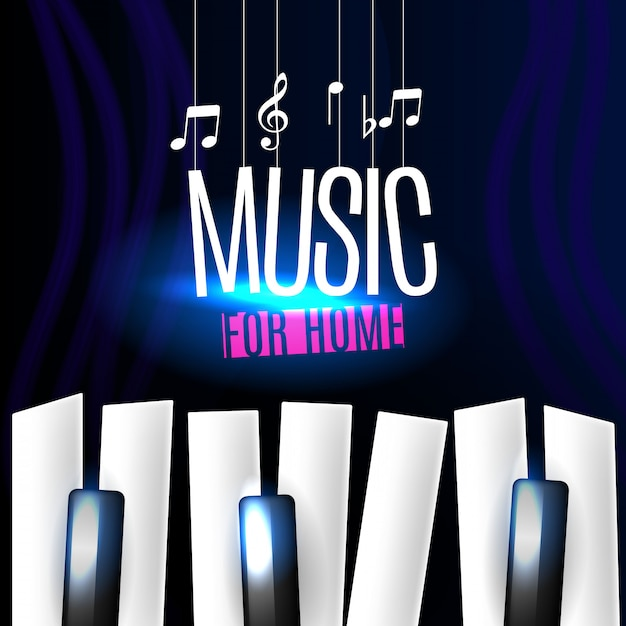 Download Free Music Banner With Piano Keys Vector Freepik