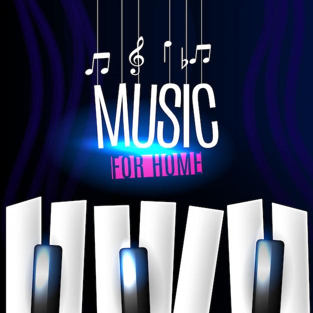 ピアノの鍵盤と音楽バナー 無料ベクター