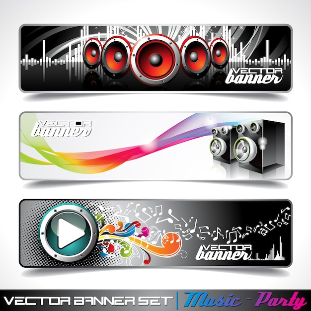 Music banners collection Free Vector