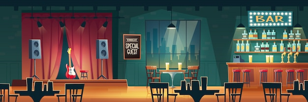 Music bar, beer pub with live performances cartoon  interior Free Vector