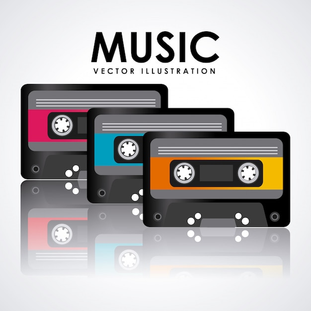 Progettazione grafica di cassette musicali Vettore gratuito