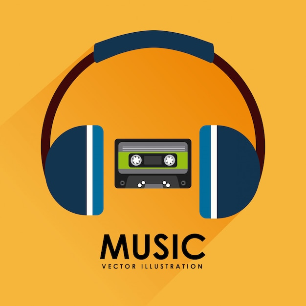 Music cassette tape and headphone graphic design Free Vector