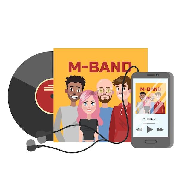 Музыкальный диск с оркестром на обложке. желтая коробка для дисков. иллюстрация Premium векторы