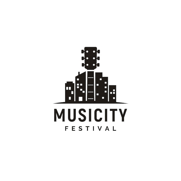 Music and city skyline logo Premium Vector