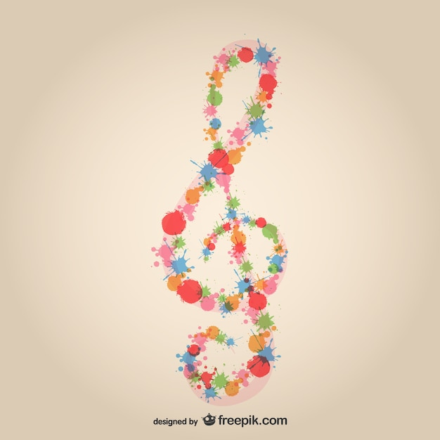 music clef splatter design free vector