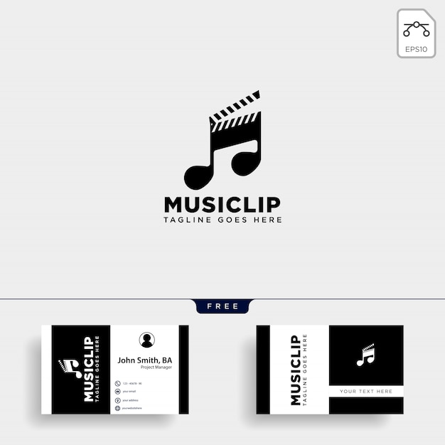 Music clip cinema media entertainment simple logo Premium Vector