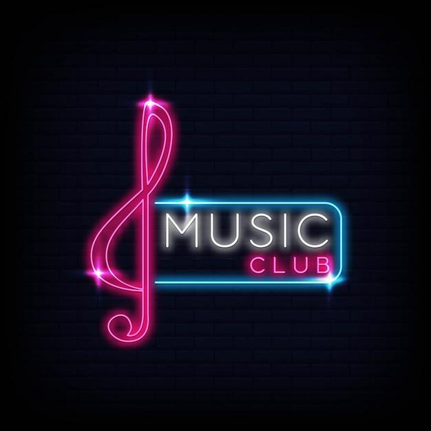 Music club   neon logo  sign  emblem  symbol poster Premium Vector