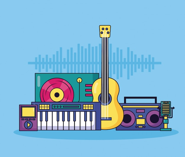 Music colorful illustration Free Vector