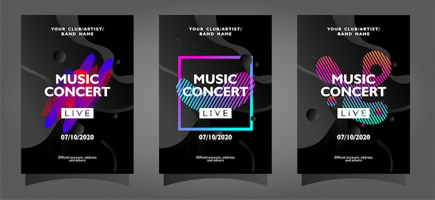 Music concert poster template collection with abstract shapes Premium Vector