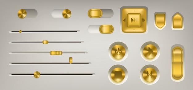 Музыкальная панель управления с золотистыми кнопками и ручками Бесплатные векторы