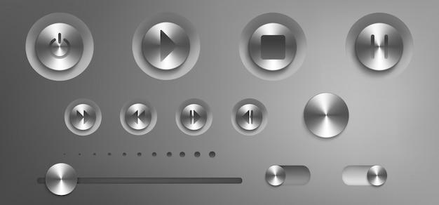 Музыкальная панель управления со стальными кнопками и ручками Бесплатные векторы