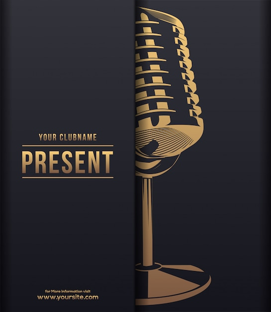 Music dark luxury concept with gold shiny microphone Premium Vector