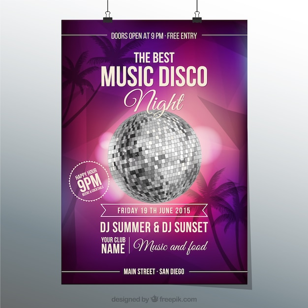 Music disco poster Free Vector