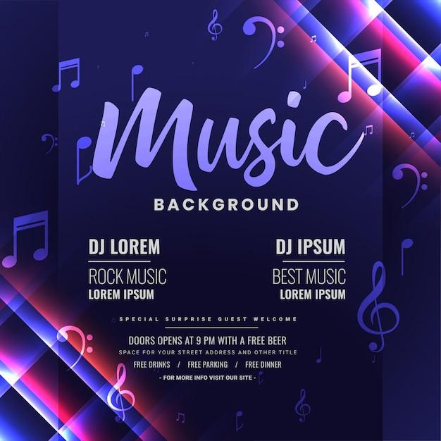 Музыка dj party приглашение или плакат, блестящий дизайн шаблона Бесплатные векторы