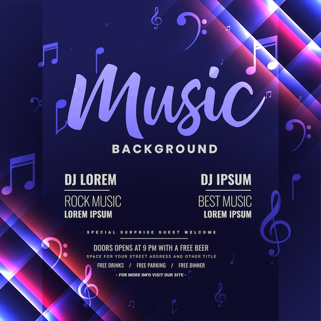 Music dj party invitation or poster, shiny template design Free Vector