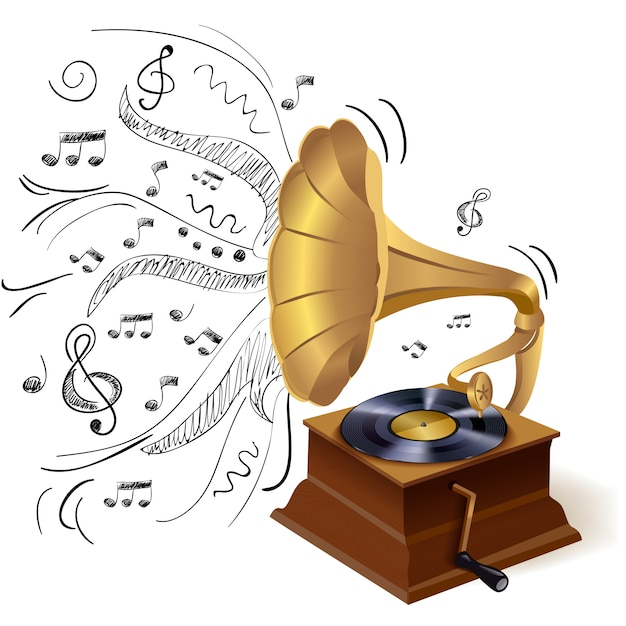 Music doodle gramophone Free Vector
