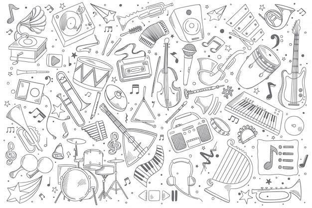 Музыкальный набор каракули Premium векторы