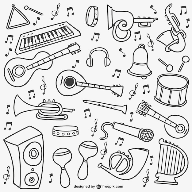 Music doodles pack Free Vector