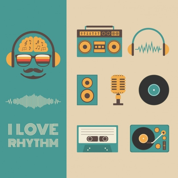 Music elements collection Free Vector