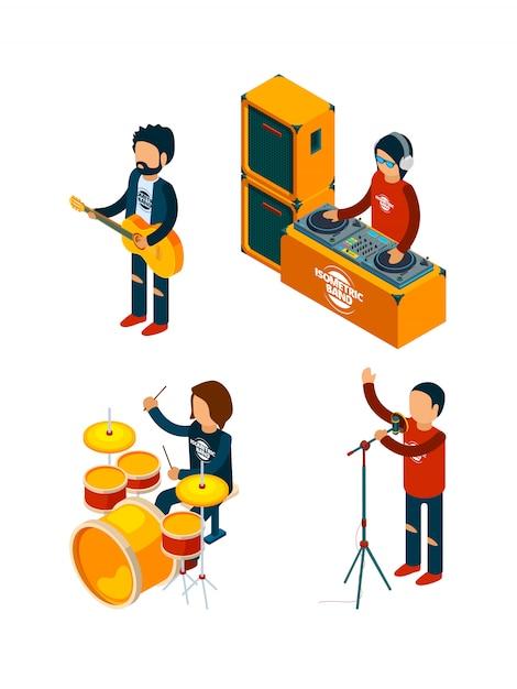 Music entertainment isometric. singer rock musician crowd drummer violinist guitar drum musical keyboard synthesizer Premium Vector