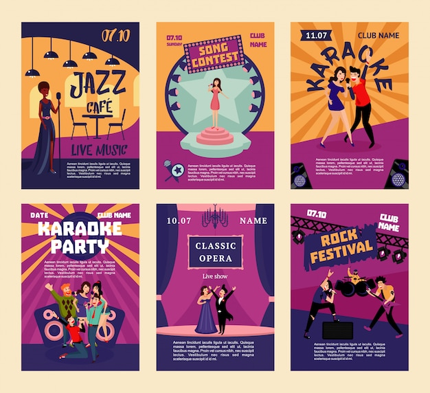 Music entertainment and karaoke posters Free Vector
