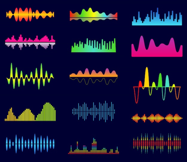Music equalizer, audio analog waves, studio sound frequency, music player waveform Premium Vector