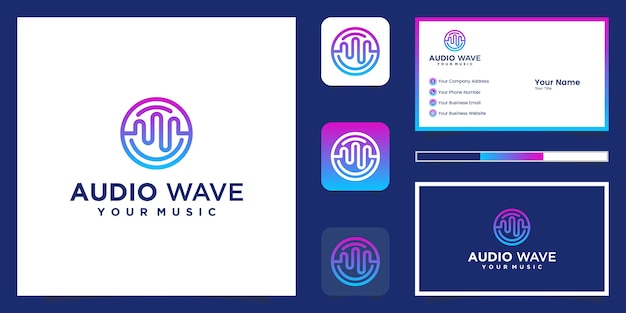 Music equalizer logo and business card Premium Vector