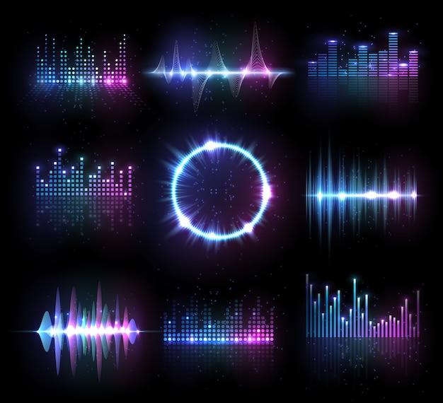 Музыкальные эквалайзеры, аудио или радиоволны, звуковые частотные линии и круг. Premium векторы
