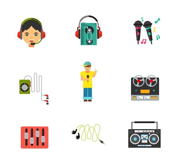 Music equipment icon set Free Vector