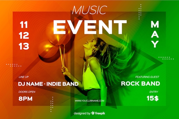 Music event banner template with photo Free Vector
