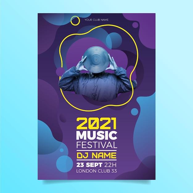写真付きの2021年のポスターの音楽イベント 無料ベクター