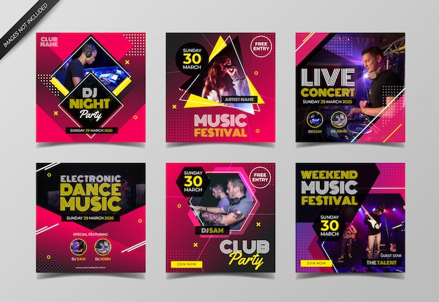 Music event instagram post collection template Premium Vector
