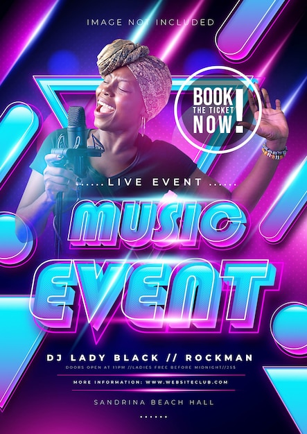 Music event or party poster with colorful gradient color Free Vector