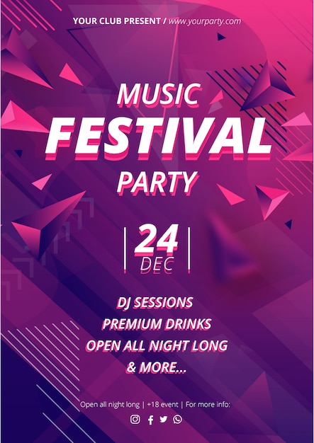 Music event poser template with abstract shapes Free Vector