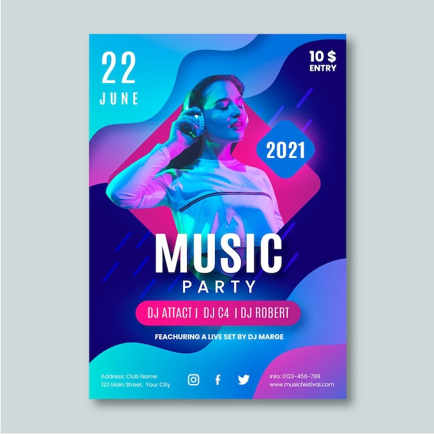 Music event poster for 2021 template Free Vector