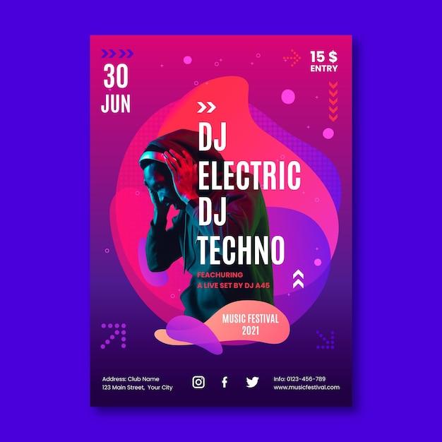 Афиша музыкального события на 2021 год Бесплатные векторы