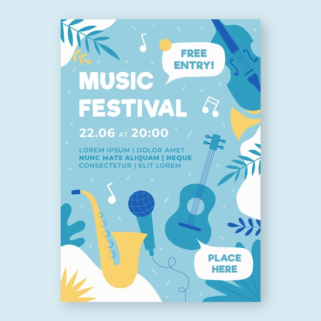 음악 이벤트 포스터 일러스트 템플릿 프리미엄 벡터
