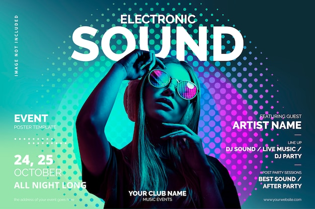 Music event poster template with colorful shapes Free Vector