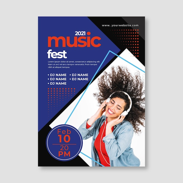 Music event poster template with photo Free Vector