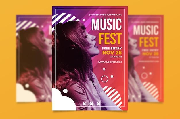 Шаблон постера музыкального события с фото Бесплатные векторы