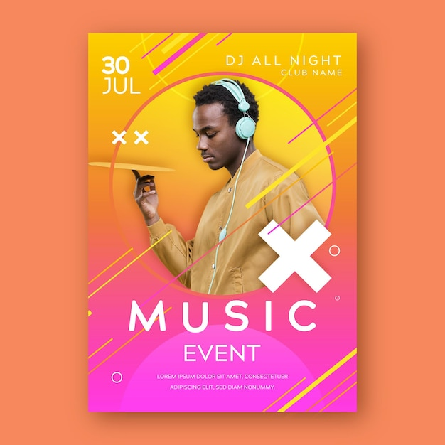 音楽イベントポスターテンプレート 無料ベクター