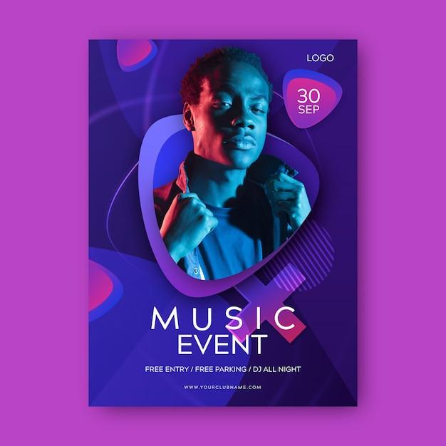 写真付き音楽イベントポスター Premiumベクター