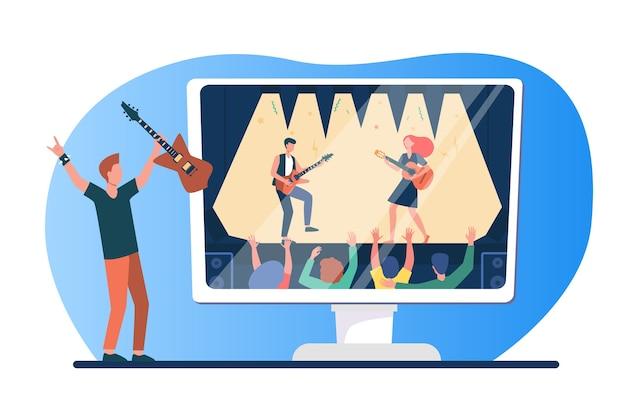 Appassionato di musica che gode del concerto rock in tv. uomo con la chitarra che guarda l'illustrazione piana di vettore del festival di musica. quarantena, intrattenimento domestico Vettore gratuito