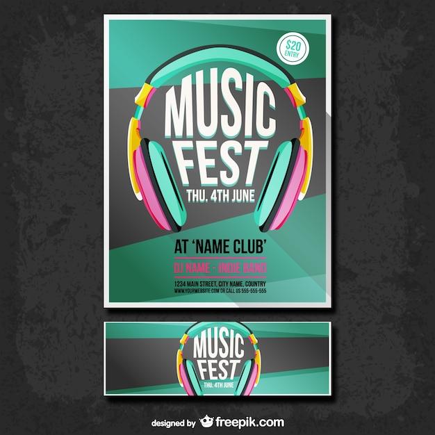 موسیقی پوستر جشنواره و مجموعه ای بنر