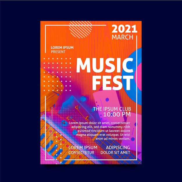 Music fest poster template Free Vector